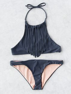 cccc7589d65c1 SHEIN offers Fringe Detail Halter Bikini Set   more to fit your fashionable  needs.