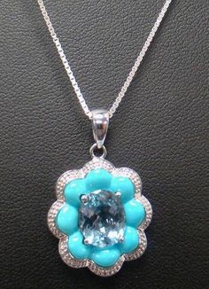 """925 STERLING SILVER NECKLACE PENDANT WITH 18"""" CHAIN SKY BLUE TOPAZ & TURQUOISE #Pendant"""