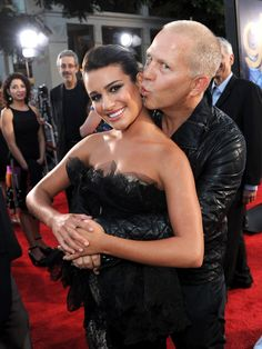 Pin for Later: Lea Michele's Life Is Full of Famous Friendships  Lea got a cute smooch from Glee creator Ryan Murphy at the red carpet premiere of their 3D concert movie in LA in August 2011.