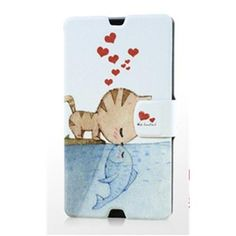 Gview Fashionable Slim Cats Love Fish Painting Series PU Leather Case For Sony Xperia Z