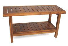 """Aqua Teak - The Original 36"""" Spa�? Teak Shower Bench with Shelf, $249.95 (http://www.aquateak.com/shower-benches-stools-by-size/the-original-36-spa-teak-shower-bench-with-shelf/)"""