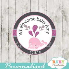 Chalkboard Printable pink whale baby shower personalized tags. Perfect for Favor Tags, Gift Bag Tags, Cupcake Toppers, Stickers and more. #babyprintables