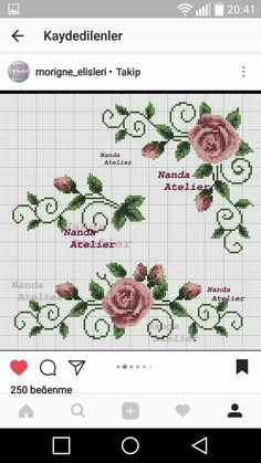 Cross stitch Embroidery Pattern for Tablecloth, Napkin. Format x Only 1 booklets of your choice. Cross Stitch Boarders, Cross Stitch Heart, Cross Stitch Flowers, Cross Stitch Designs, Cross Stitching, Cross Stitch Patterns, Beaded Embroidery, Cross Stitch Embroidery, Embroidery Patterns