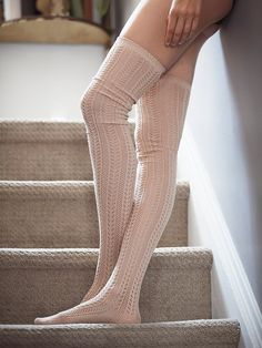 Fray Pointelle Over the Knee Sock