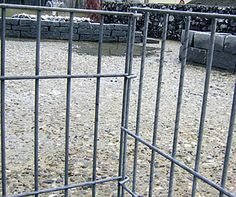 Welded gabion baskets are joined by hooks