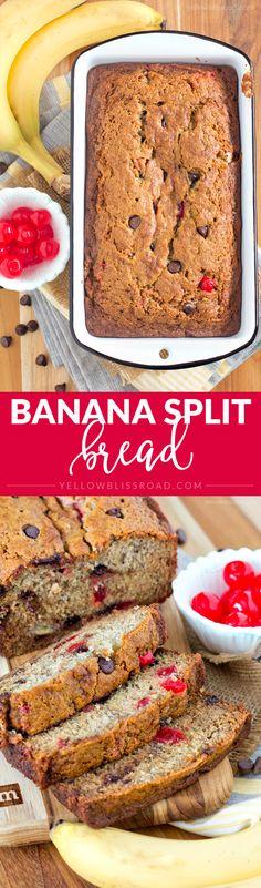 Banana Split Bread with Chocolate and Cherries