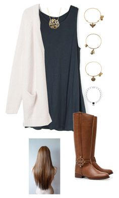 """ootd"" by gabbbsss ❤ liked on Polyvore featuring Monki, Tory Burch, Alex and Ani and Jane Basch"