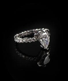 Watch the story and making of this custom engagement ring with heart setting Also features an eternity band with Vanessa Leu signature floral pave  diamond details. Handcrafted (not cast) from scratch in reclaimed platinum, conflict-free diamonds.