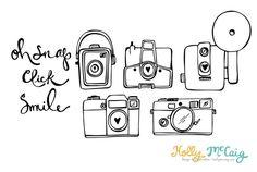 Camera Photoshop Brush - Camera Digital Stamp - Photography Clip Art - Hand Drawn Camera - Photoshop Brushes - Camera Outlines
