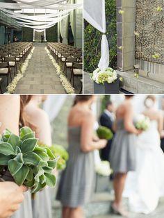 pretty greys and greens via Brooklyn Bride