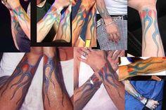 linkin park - Chester Bennington 's flame tattoos