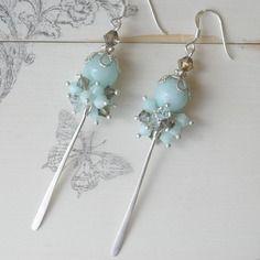 Boucles d'oreilles argent massif, vert d'eau, pierre de gemme amazonite, cristal swarovski bleu, romantique, ref boag9