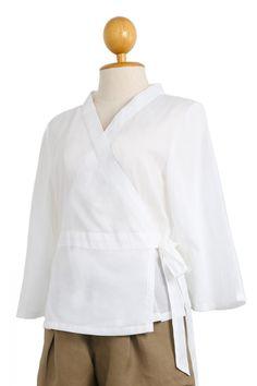 Winggy Surplice Wrap Cotton Top, White