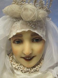 antique french wax head mannequin buste doll bridal display victorian