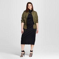 utility jacket and turtleneck dress #plussize