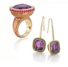Bretterbauer Jewelry High Jewelry, Pink Sapphire, Amethyst, Gemstone Rings, Diamonds, Bronze, Jewels, Metal, Earrings