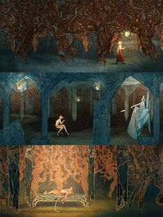 """The Lion, the Witch, and the Wardrobe Set Designs """"Taking this story on as a theatrical production was a challenge- there are so many scene changes that the set would have to be versatile. I designed a series of translucent curtains, able to be moved across the stage, facilitating scene changes and making Narnia seem vast."""" ~treasurefield"""