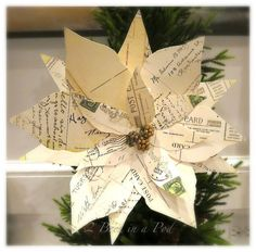 DIY Vintage Christmas Postcard Poinsettias - Here's a quick Christmas decoration craft project that will make a huge impact on your tree or in your decor. [medi…