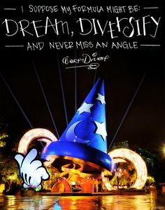I suppose my formula might be: Dream, Diversify and never miss an Angle - Walt Disney