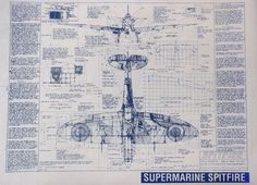 WW II Supermarine Spitfire Blueprint by BlueprintPlace on Etsy, $18.99