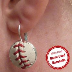 Real Game Used Authentic MLB Baseball Earrings by SportsCufflinks, $34.99