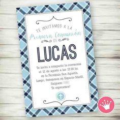 Kit Imprimible Comunión Bautismo Invitación Varón Candybar 2 - $ 300,00 en Mercado Libre