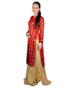 Phulkari Bagh Sherwani Kurta. Front open with long side slits, this Sherwani kurta pairs fabulously with a lancha, lehnga, sharara