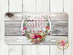 Red Floral Roses Deer Antlers, Vintage, Boho, Weathered Wood - Personalized - License Plate - Aluminum - Monogrammed - Car Tag by AquaMagnolia on Etsy