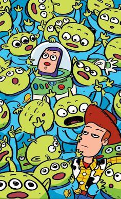 Toy story mobile wallpaper woody, buzy and aliens Toy story fã arte papel de parede Disney Phone Wallpaper, Kawaii Wallpaper, Disney Toys, Disney Art, Disney Drawings, Cartoon Drawings, Drawing Disney, Pencil Drawings, Vexx Art