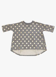 Beau Loves Gold Dot Oversized Top With Frill Back in Grey Graphite