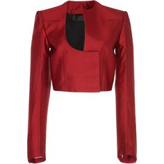 Haider Ackermann Cropped Cut Out Jacket (48.046.450 VND) ❤ liked on Polyvore featuring outerwear, jackets, red, long sleeve crop jacket, red cropped jacket, cropped jackets, crew jacket and haider ackermann