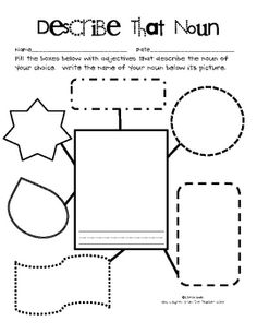 My first item on TpT!  This is a graphic organizer that will be great for having students apply their knowledge and understanding of adjectives.  Students can either draw...