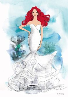 Disney teamed up with Allure Bridal on the collection, which will debut in April at New York Bridal Fashion Week. The designer made 16 dresses inspired by Disney princesses. Disney Inspired Wedding Dresses, Country Wedding Dresses, Princess Wedding Dresses, Boho Wedding Dress, Princess Bridal, Disney Weddings, Mermaid Princess, Gown Wedding, Mermaid Wedding