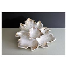 Vintage Midcentury-Style 2-Piece Gold and White Maple Leaf-Shaped Ceramic Snack Dish/Tray and Bowl Hors d'Oeuvre Set/Catch-All/Candy Dish #white #gold #ceramic #glam #vintage #midcentury #dish #chipanddip