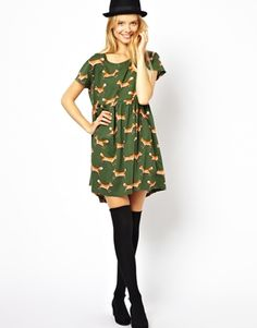 ASOS Smock Dress With Cute Fox