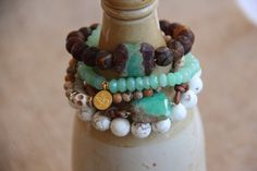 Green Chrysoprase Nugget Bracelet on Leather by HappyGoLuckyJewels.  Would love ALL of !