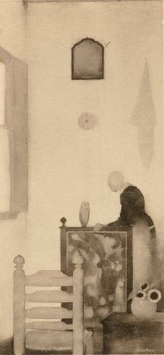 Mother in the room by Jan Mankes (Holland) But Is It Art, Dutch Painters, Dutch Artists, Amazing Drawings, Museum Of Modern Art, Western Art, Figure Painting, Art Forms, Les Oeuvres