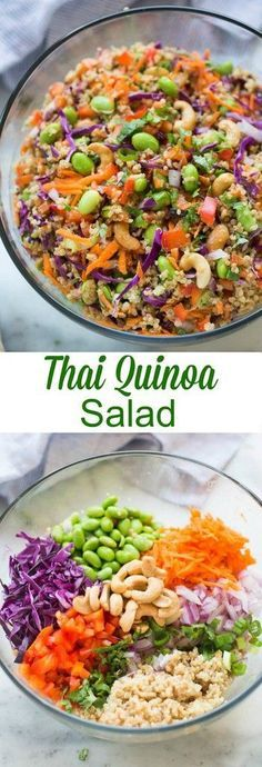 Thai Quinoa Salad - Quinoa tossed with a medley of fresh, crunchy veggies and drizzled with a delicious peanut sauce. Everyone always loves this fun and delicious and easy Thai quinoa salad. Healthy Salad Recipes, Whole Food Recipes, Vegetarian Recipes, Cooking Recipes, Vegetarian Salad, Cooking Tips, Soup Recipes, Quinoa Salad Recipes Easy, Recipies