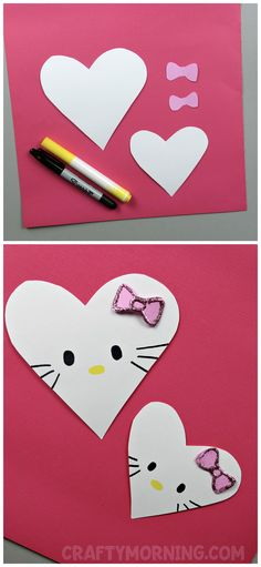 Easy Valentine Crafts for Kids – DIY Projects to Try This Year! Valentine's Day is not only for us, adults. It's a great time for easy Valentine crafts for kids and DIY projects you can make together! Kinder Valentines, Valentine Crafts For Kids, Winter Crafts For Kids, Cat Valentine, Valentines For Kids, Valentine Activities, Cute Art Projects, Diy Projects For Kids, Diy For Kids