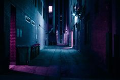 urban lighting neon color night purple cyan back street - smells like violet!