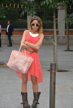 Coral & metallic boots