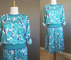 Teal Dress Vintage Floral White Satin by InTheHammockVintage, $20.00