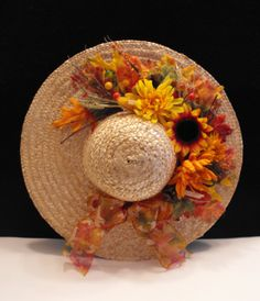 ... Straw Hat Wall or Door Hanging Decoration in Fall and Autumn Colors
