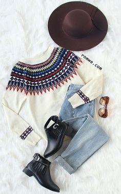 Beige Geometric Print Sweater