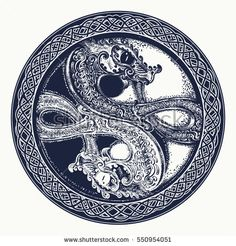 Two Dragons in the Celtic style, tattoo. Black and white dragon in Yin yang t-shirt design. Meditation, philosophy, harmony symbol
