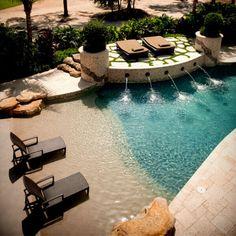 Beach Entry Pool, Backyard Beach, Small Backyard Pools, Ponds Backyard, Beach Pool, Small Pools, Zero Entry Pool, Pool Sand, Sloped Backyard