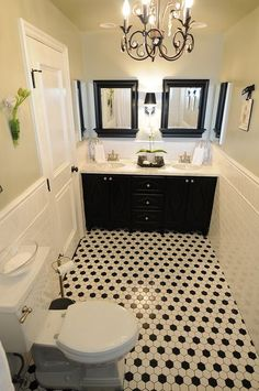 Wonderful Black And White Bathroom I Like This Because You Can Accent With Any Color.  Get