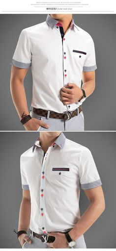 Casual shirt with colour detailed buttons Casual shirt with colour detailed buttons Related Post 30 Men Outfit Style Clothes Slim Fit Men Long Slee. Formal Shirts, Casual Shirts For Men, Men Casual, Corporate Shirts, Dad Outfit, Polo Design, Only Shirt, Half Shirts, Look