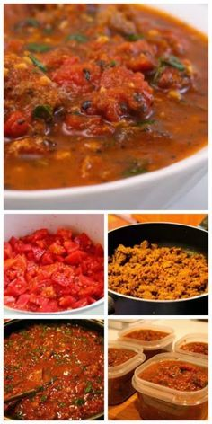 This Sausage and Basil Marinara Sauce for the Freezer, Made with Fresh Tomatoes, is something I've been making for years and years.  Always a hit when you pull one out in the middle of the winter!  [from KalynsKitchen.com] #GardenCooking #FreezerFood #Tomatoes