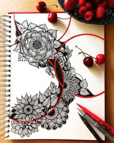 Intricate Doodles and Zentangle Drawings Flower Art Drawing, Doodle Art Drawing, Zentangle Drawings, Mandala Drawing, Pencil Art Drawings, Art Drawings Sketches, Zentangle Patterns, Zentangles, Mandala Doodle